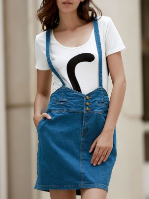 Packet Buttocks Denim Suspender Skirt - Blue