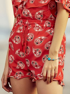 Full Floral Print Drawstring Shorts - Red