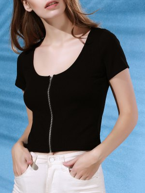 Zipper Cropped Short Sleeve T-Shirt - Black