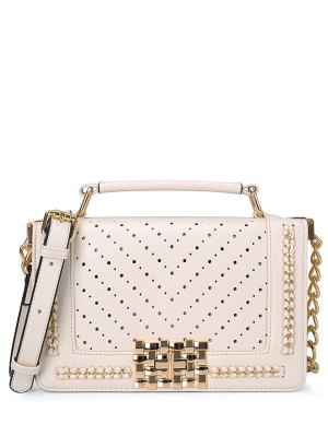 Hollow Out Metal Chains Tote Bag - White