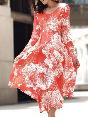 Back Cut Out Round Collar Long Sleeve Maxi Dress - Orange