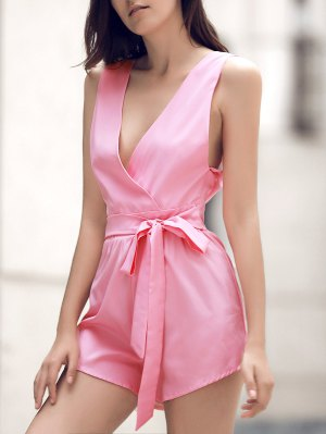 Waisted Plunging Neck Solid Color Romper - Pink