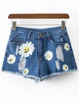 Ripped Daisy Print Denim Shorts - Blue