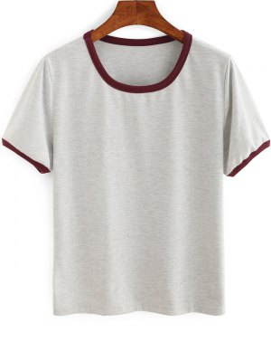 Contrasting Piped Ringer T-Shirt - Gray