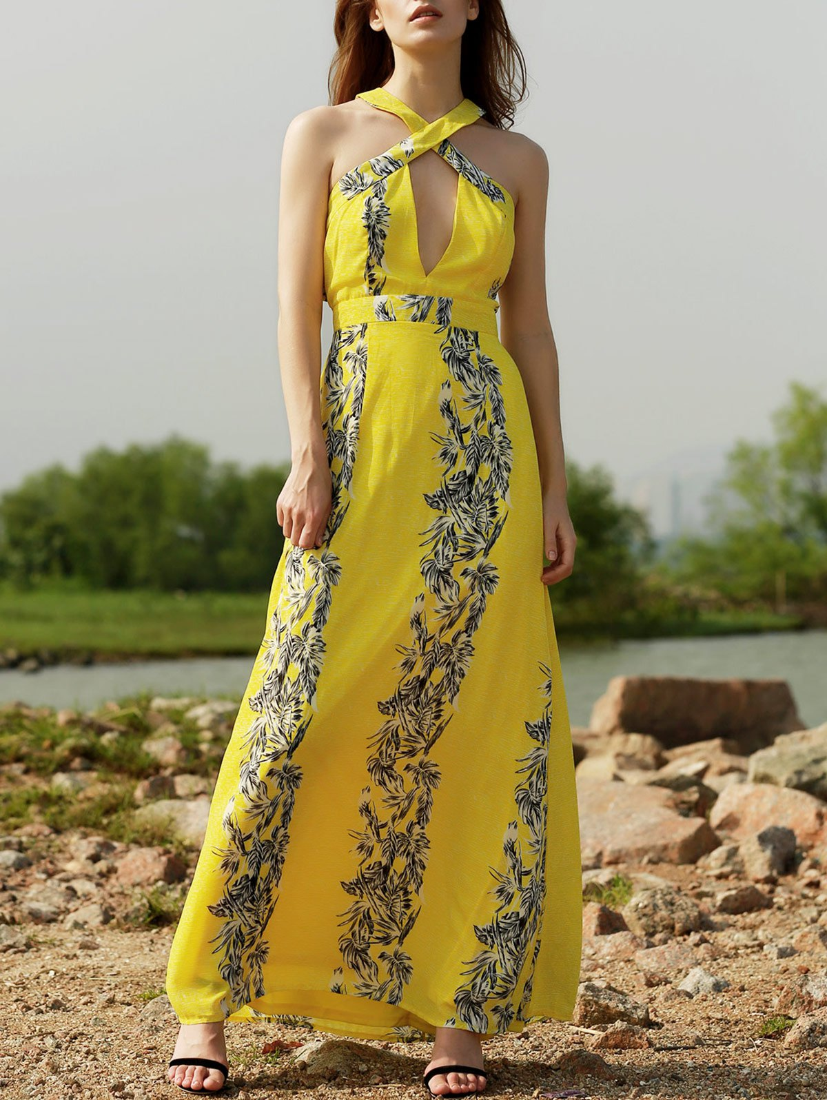 Sleeveless Crossed Cut Out Printed Maxi Dress 177585903