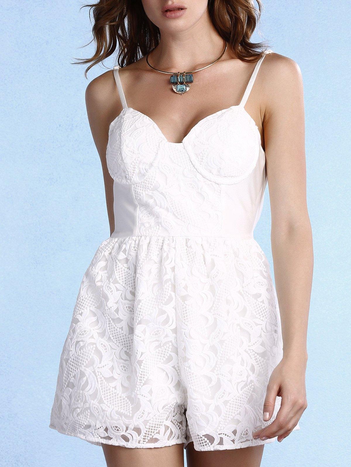 Cami White Lace Romper