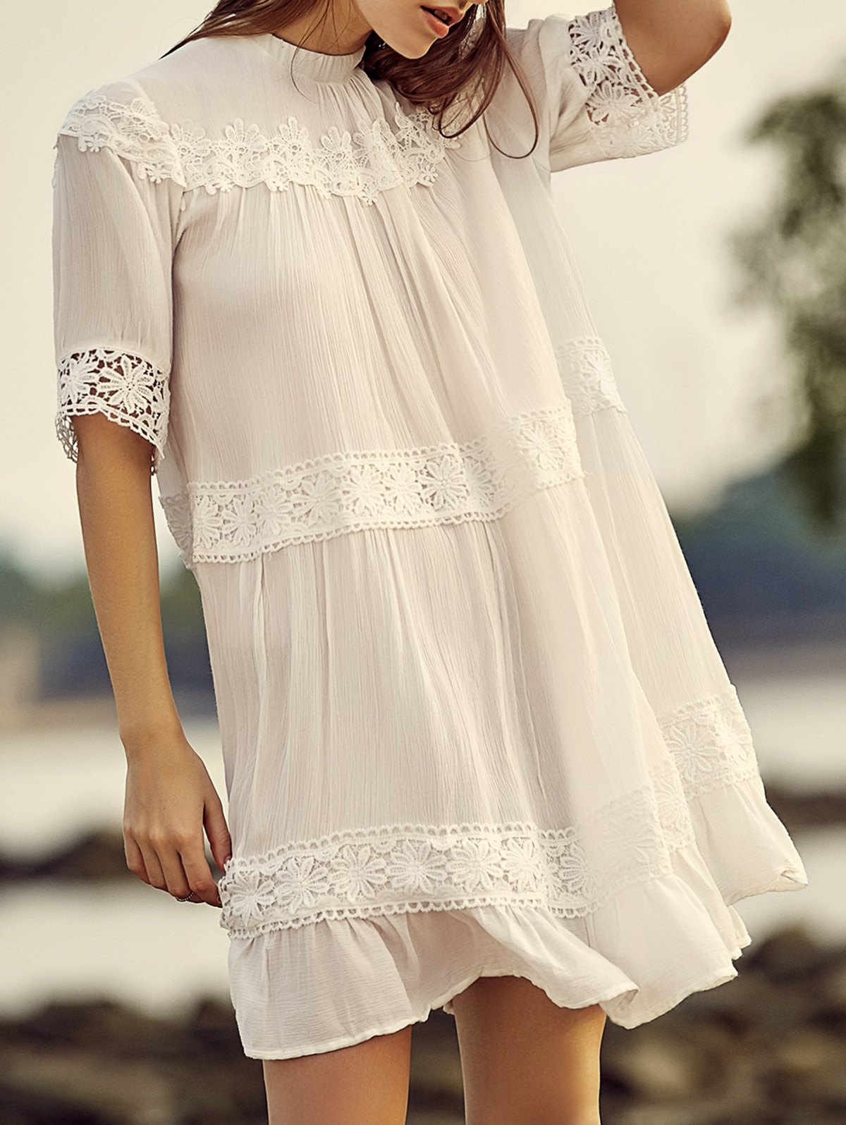 Stand Neck Half Sleeve White Lace Splicing Dress