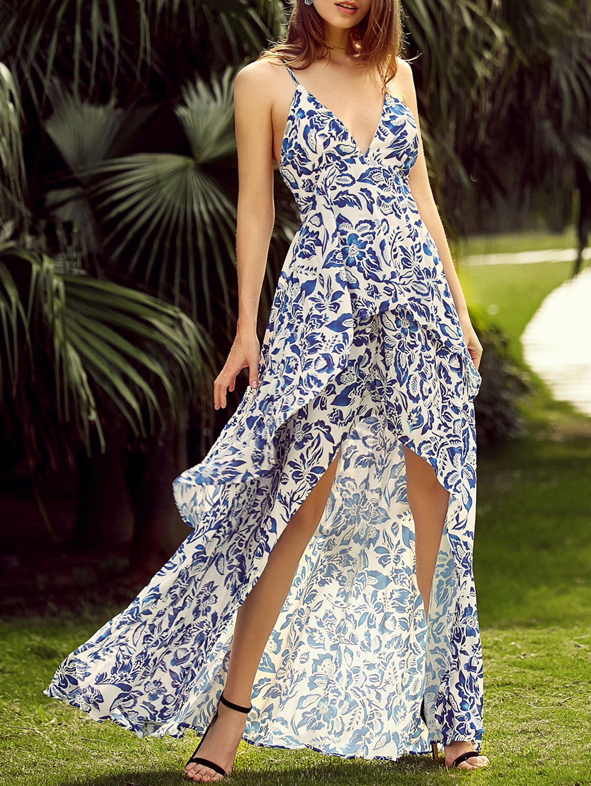 Plunging Neck Back Lace Up Floral Print Asymmetric Maxi Dress