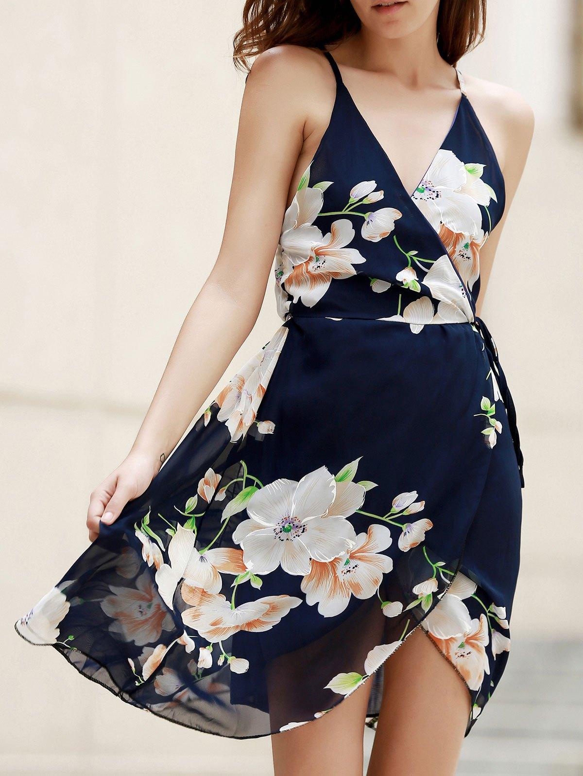 Plunge Flower Print Crossed Dress