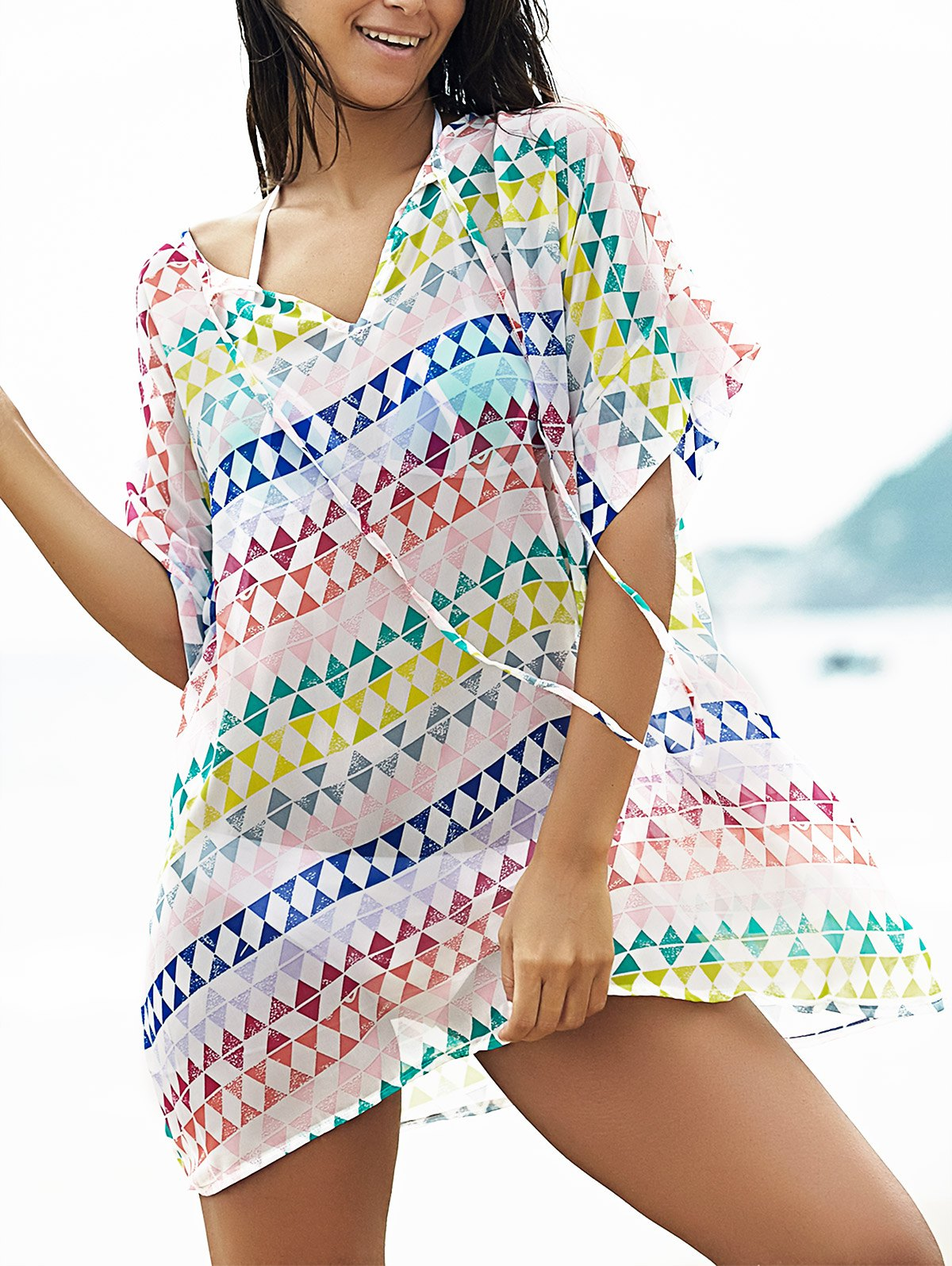 Loose Geometric Print Plunging Neck Bat-Wing Sleeve Cover Up