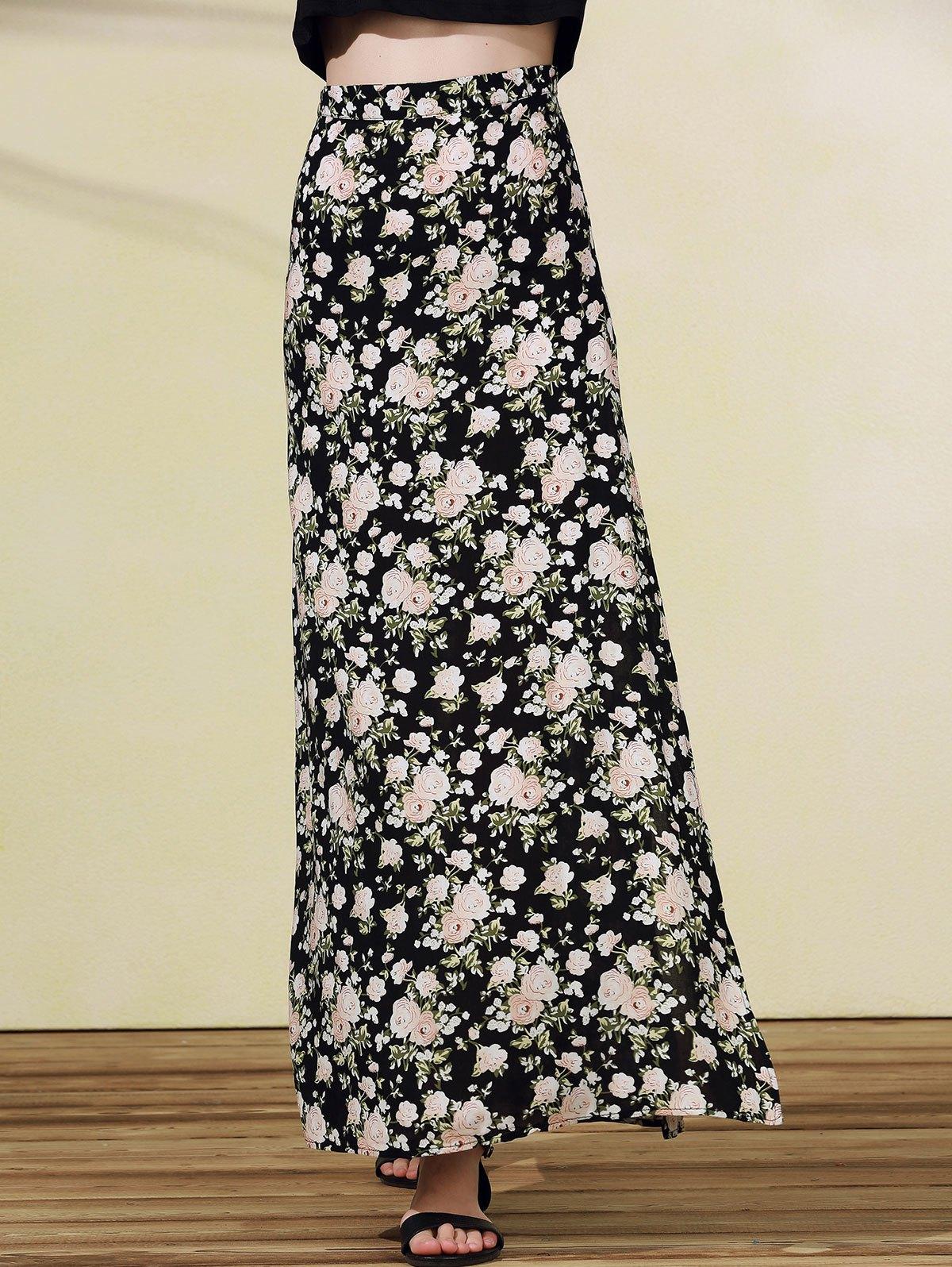 High Slit Rose Print Skirt - BLACK L