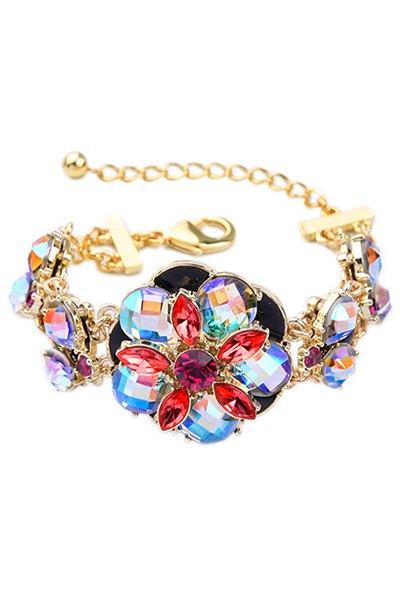 Colored Rhinestone Flower Bracelet