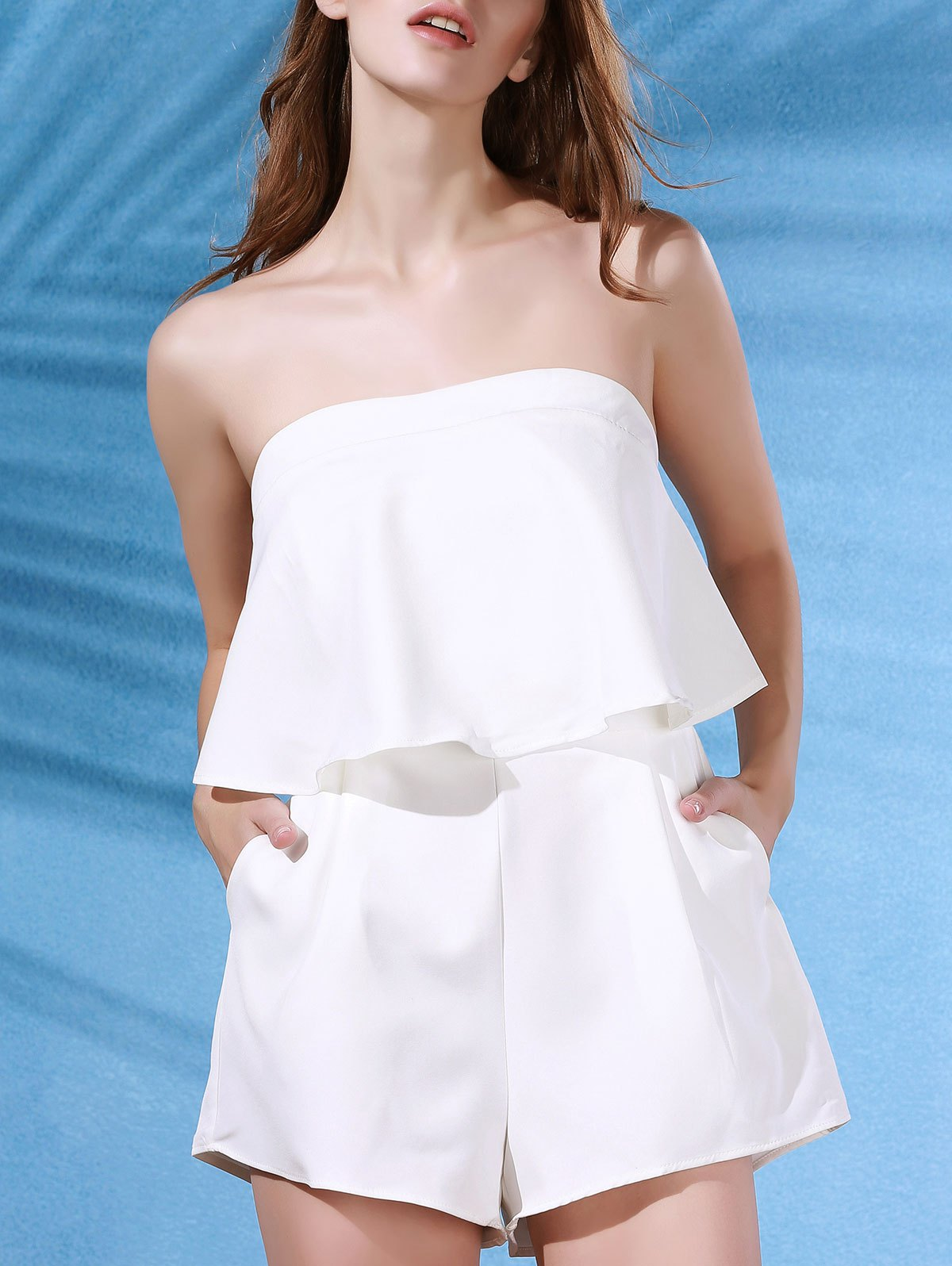 Strapless Solid Color Ruffles Romper