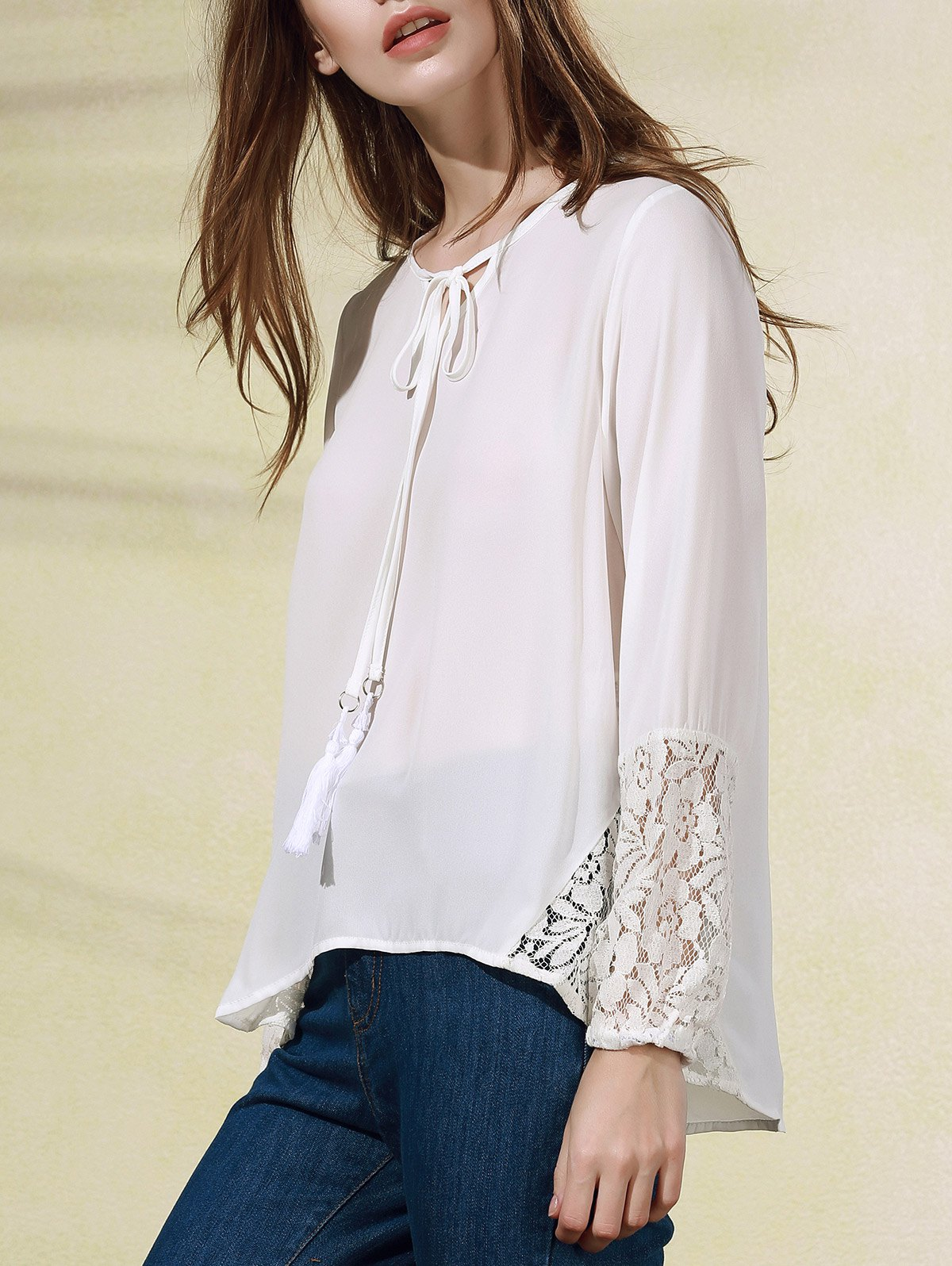 White Lace Splice V Neck Long Sleeve Blouse 178280201