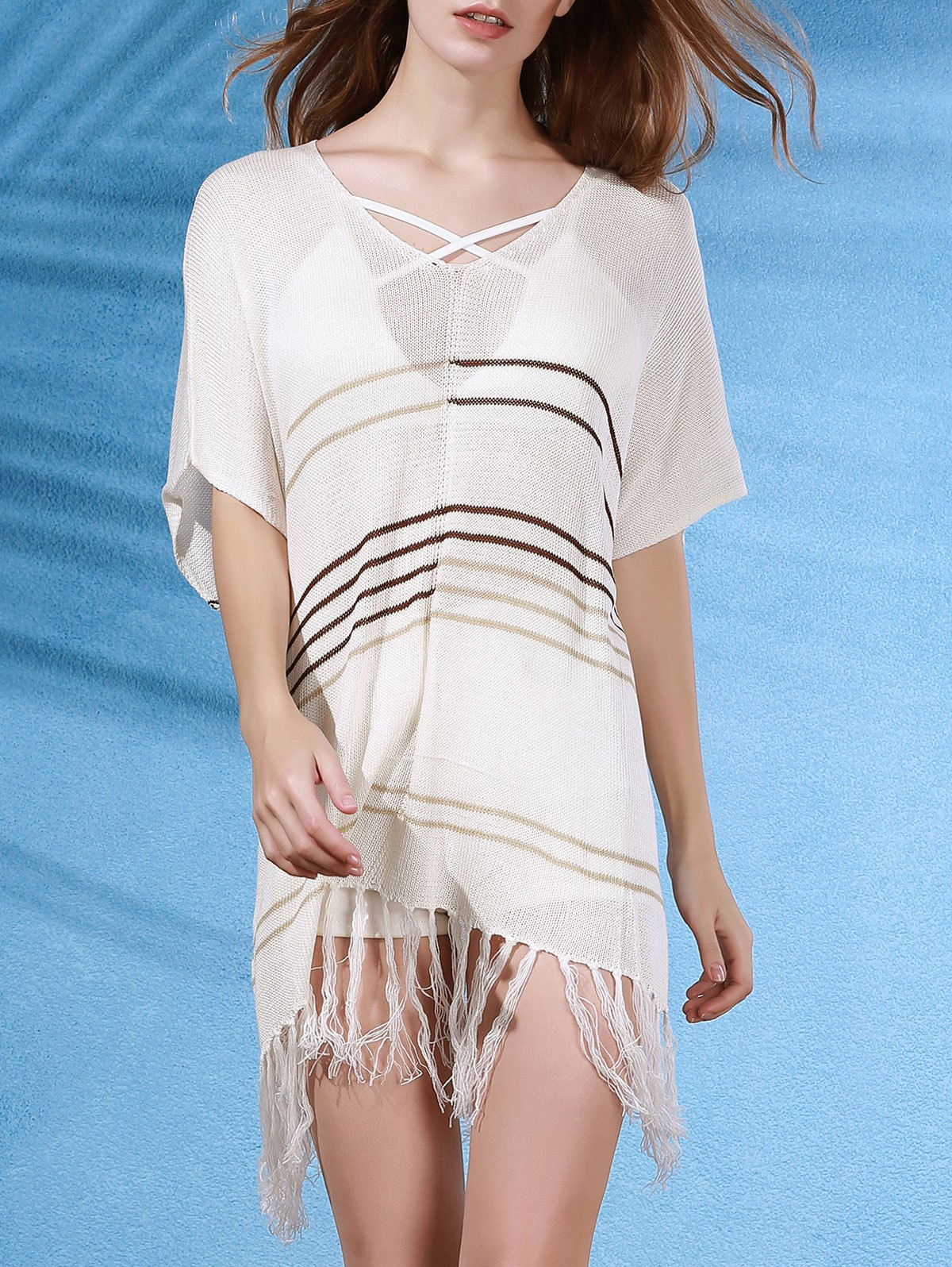 V-Neck Half Sleeve Tassels Spliced Cover Up