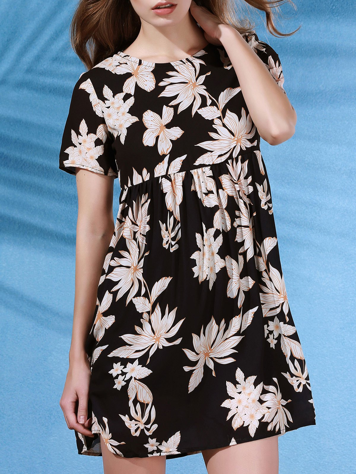 Round Collar Flower Print Short Sleeve DressClothes<br><br><br>Size: S<br>Color: BLACK