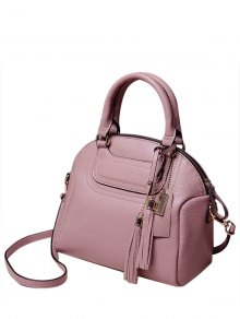 PU Leather Tassel Solid Color Tote Bag