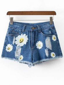 Ripped Daisy Print Denim Shorts