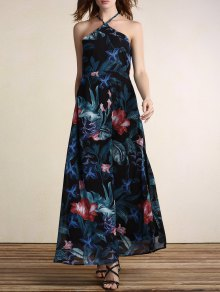 Floral Cami Backless High Slit Maxi Dress