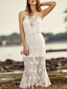Backless Spaghetti Straps Openwork Lace Dress
