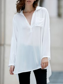 Loose White Shirt Collar Long Sleeve Shirt