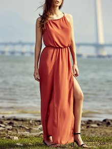 Split High Waisted Beach Maxi Dress - Red 2xl
