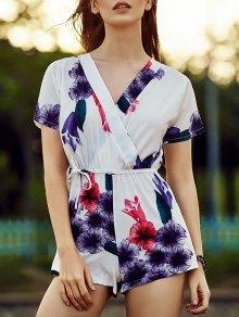 Belted Violet Print V Neck Short Sleeve Romper