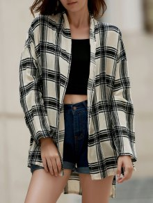 Loose Checked Collarless Long Sleeve Shirt