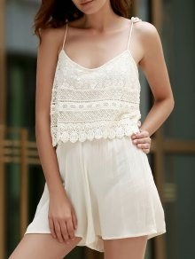 Lace Splice aSpaghetti Strap Playsuit