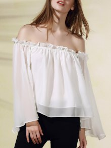 Solid Color Flare Sleeve Off The Shoulder Chiffon Blouse