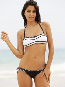 Black and White Strapless Bikini Set - WHITE L