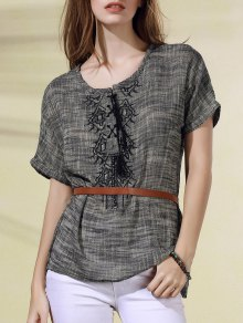 Lace Up Boxy Embroidered T-Shirt