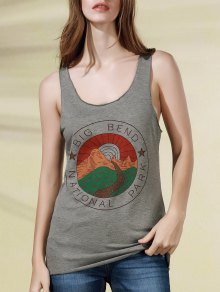 Scoop Neck Letter Print Tank Top - Gray 2xl