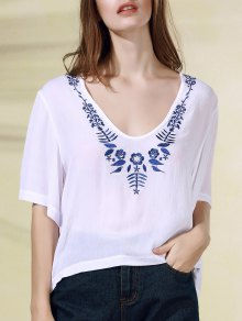 Floral Embroidery V-Neck Half Sleeve T-Shirt
