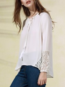 White Lace Splice V Neck Long Sleeve Blouse