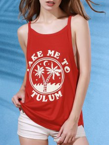 Coconut Palm Print Red Cami Top