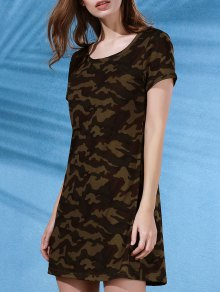 Camouflage Print Scoop Neck Short Sleeve Dress