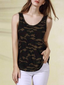 Military Uniform Style Scoop Neck Tank Top