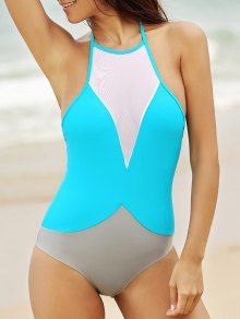 See-Through High Neck One Piece Swimwear