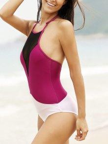 Buy See-Through High Neck One Piece Swimwear S WINE RED