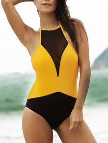 See-Through High Neck One Piece Swimwear - Yellow