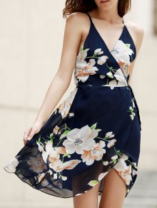 Plunge Crossed Flower Print Dress - Purplish Blue