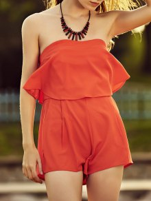 Solid Color Ruffles Strapless Romper