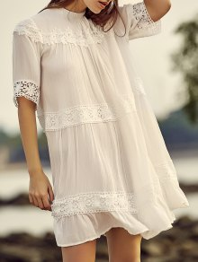 White Lace Splicing Stand Neck Half Sleeve Dress