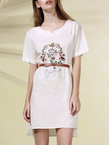 High Low Embroidered Side Split Dress - White