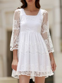 White Lace Mesh Splicing Square Neck Flare Sleeve Dress