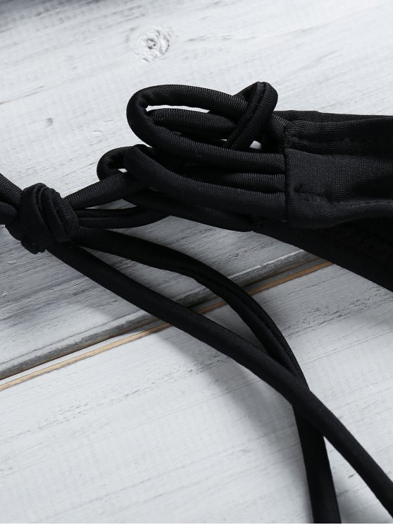 Solid Color String Spaghetti Straps Bikini Set - BLACK S Mobile