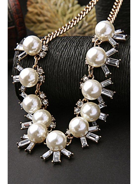 Faux Pearl Elegant Necklace - GOLDEN  Mobile