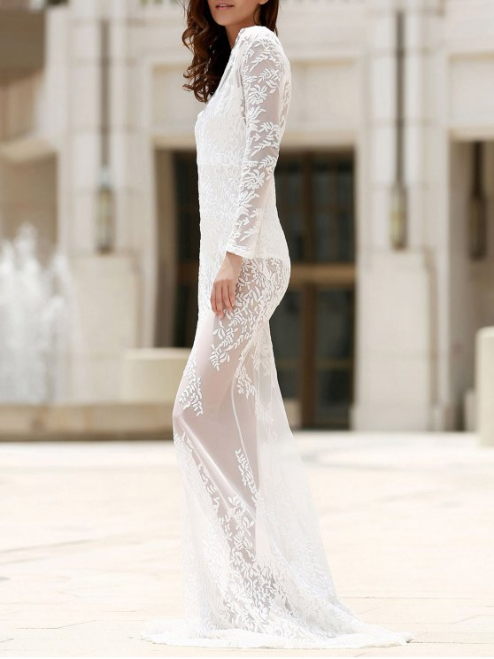 Maxi Sheer Lace Prom Dress - WHITE L Mobile