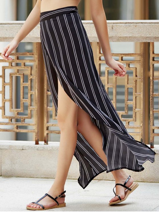 Stripe High Waist High Low Skirt - BLACK XL Mobile